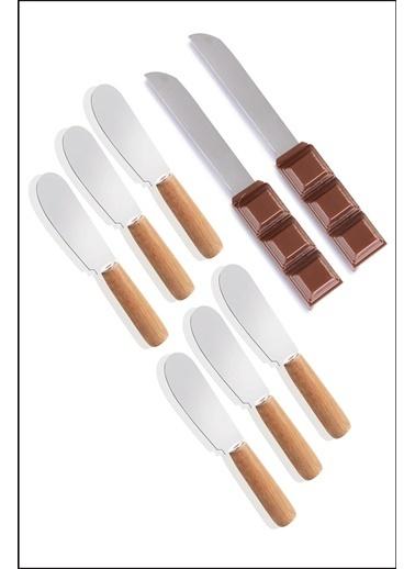 Kitchen Love Ahşap Saplı 6 Adet Tereyağ Bıçak+2 Adet Nutella Bıçak Kahve